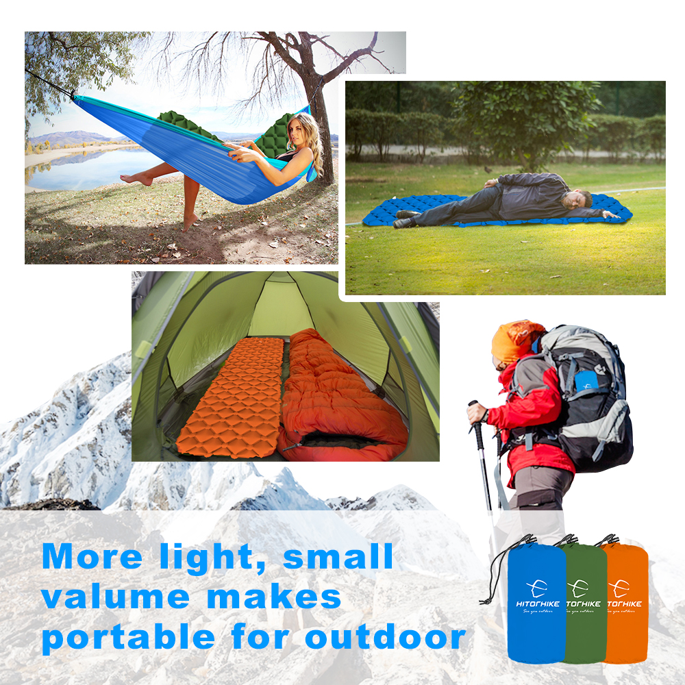 Hitorhike Air Mattress Inflatable Bed for Tent Ultralight Sleeping Pad Air Bed Moistureproof Pad Waterproof Camping Mat New 2018 durable thicken pvc car travel inflatable bed automotive air mattress camping mat with air pump