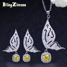 BlingZircons Slavens zīmols dzeltens CZ akmens Sieviešu rotaslietas sudraba 925 tauriņu formas auskari kaklarota Juvelierizstrādājumu komplekti JS105