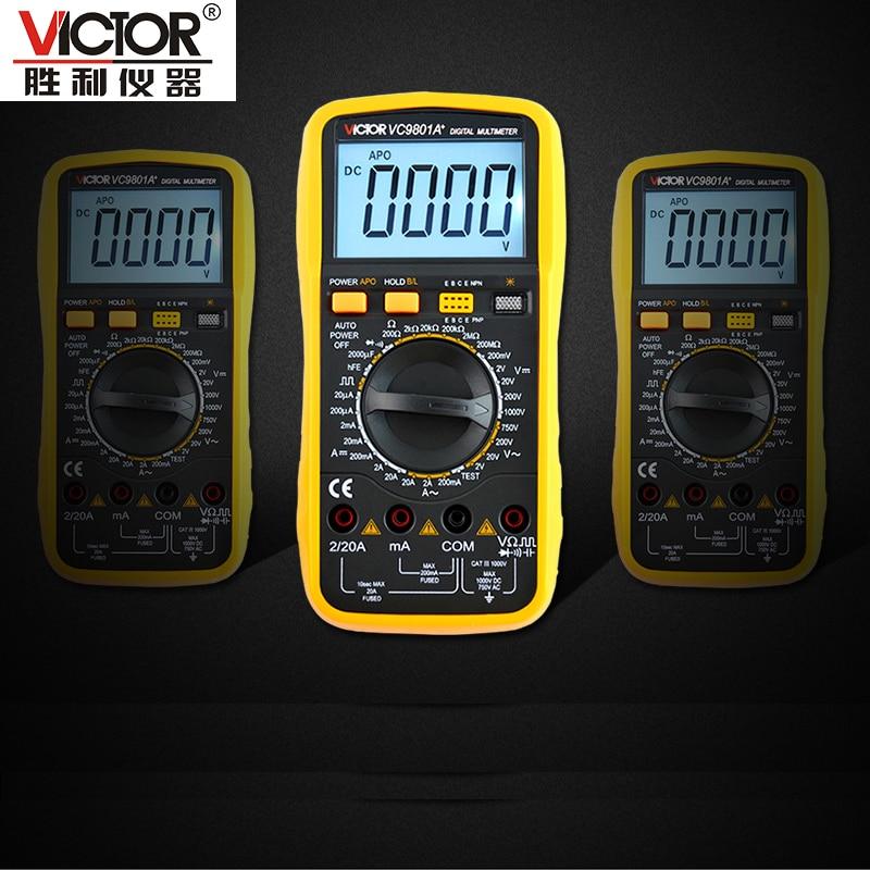 ФОТО 1pcs high quality VICTOR 9801A+ 3 1/2 LCD display digital Multimeter Electrical Meter AC/DC Voltmeter Ohmmeter handhold tester