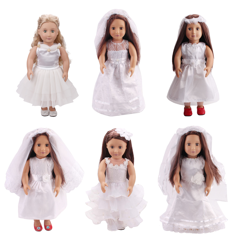 Doll clothes Princess white wedding dress + scarf toy accessories fit 18 inch Girl doll and 43 cm baby doll c87