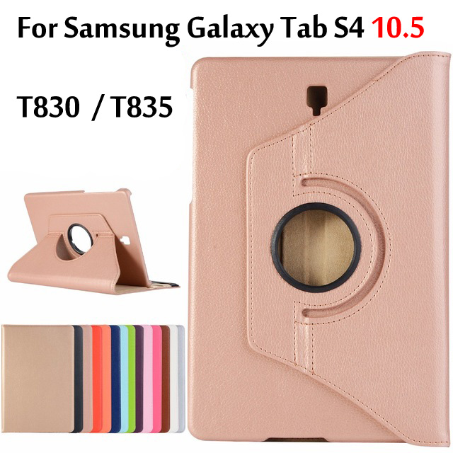 Case For Samsung Galaxy Tab S4 10.5 T830 T835 SM-T830 360 Degree Rotatable PU Leather Smart Awake Sleep Cover Coque Funda