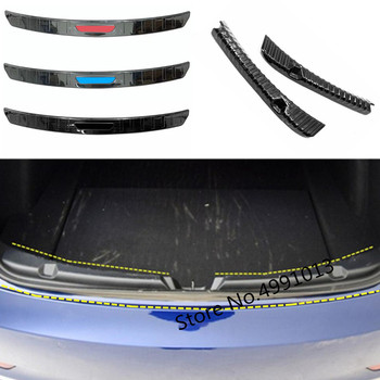 עבור טסלה דגם 3 2018 2019 רכב סטיילינג אחורי בחזרה תא מטען פנימי מחוץ פגוש פנימי צלחת חיצוני מסגרת סף דוושה שחור