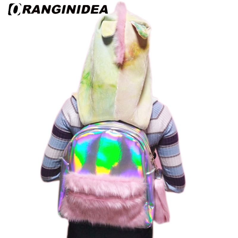 Sacs à dos Laser holographiques pour femmes cartables en fausse fourrure avec sweats à capuche détachables sac à dos de voyage pour fille mochila