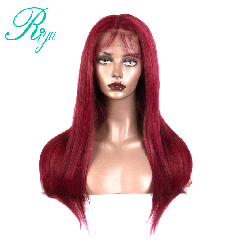 13x6 Red Straight Lace Front Human Hair Wig Preplucked Hairline Brazilian Ombre Remy Wigs with Baby