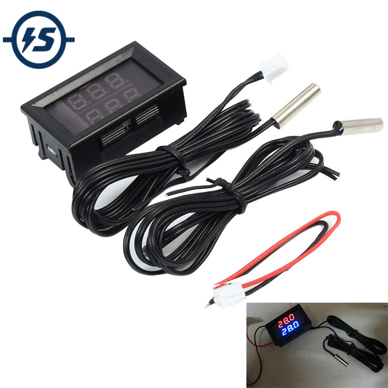 Dual Digital IC Tester LED Display Meter Thermometer Temperature Sensor NTC Waterproof Metal Logic Probe Red+Blue