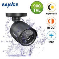 SANNCE 700TVL Analog Camera Bullet Black Indoor Outdoor Weatherproof Home Security Surveillance System Night Vision With IR CUT