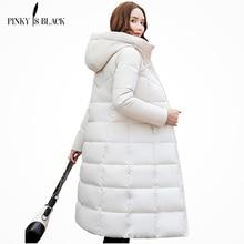 PinkyIsBlack kış ceket kadınlar kapşonlu uzun parkas kış ceket kadın ceket giyim kalınlaşmak aşağı pamuk kapitone ceket
