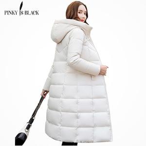 Image 1 - PinkyIsBlack kış ceket kadınlar kapşonlu uzun parkas kış ceket kadın ceket giyim kalınlaşmak aşağı pamuk kapitone ceket