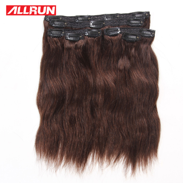 Clip In Human Hair Extensions Natural Wave Malaysian Virgin Human Hair Natural Wave Clip In 6pcs/set 120g #2 Dark Brown 112g