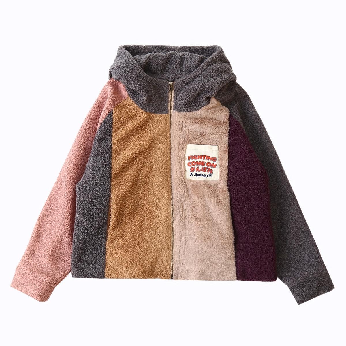 Autumn New Vintage Design Zip Up Women Winter Jackets Women Fleece Color Block Coat Thick Warm