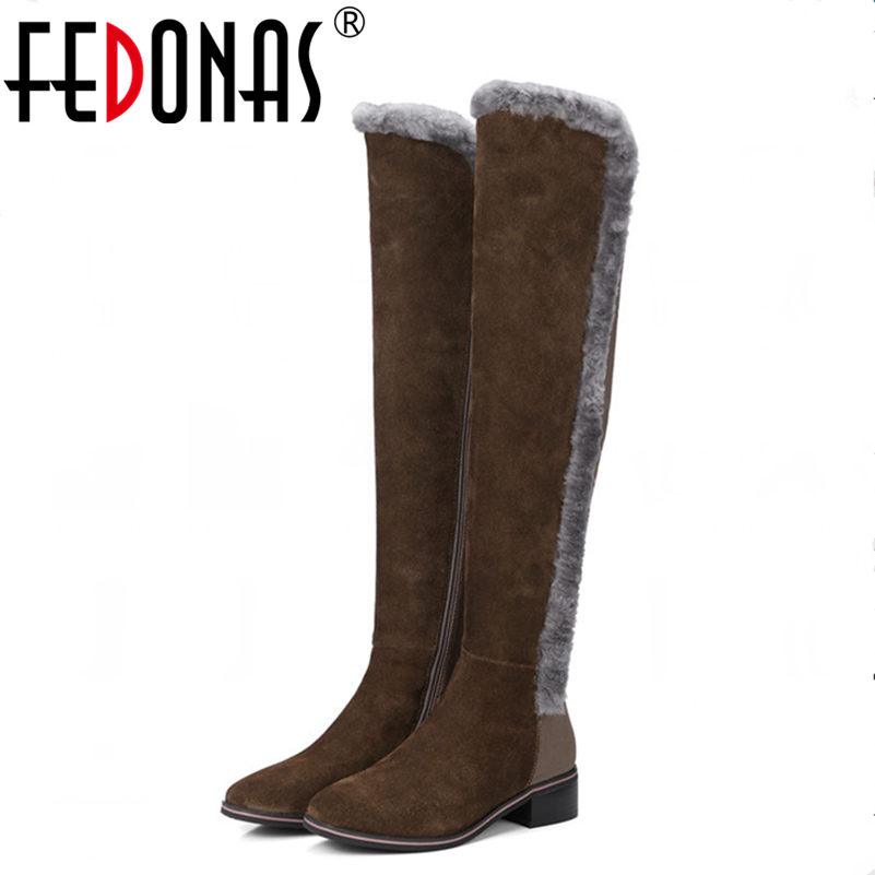 FEDONAS New Women Genuine Leather +Stretch Fabric Warm Winter Snow Boots Thigh High Sexy Over Knee Boots High Heels Shoes Woman 2017 sexy thick bottom women s over the knee snow boots leather fashion ladies winter flats shoes woman thigh high long boots