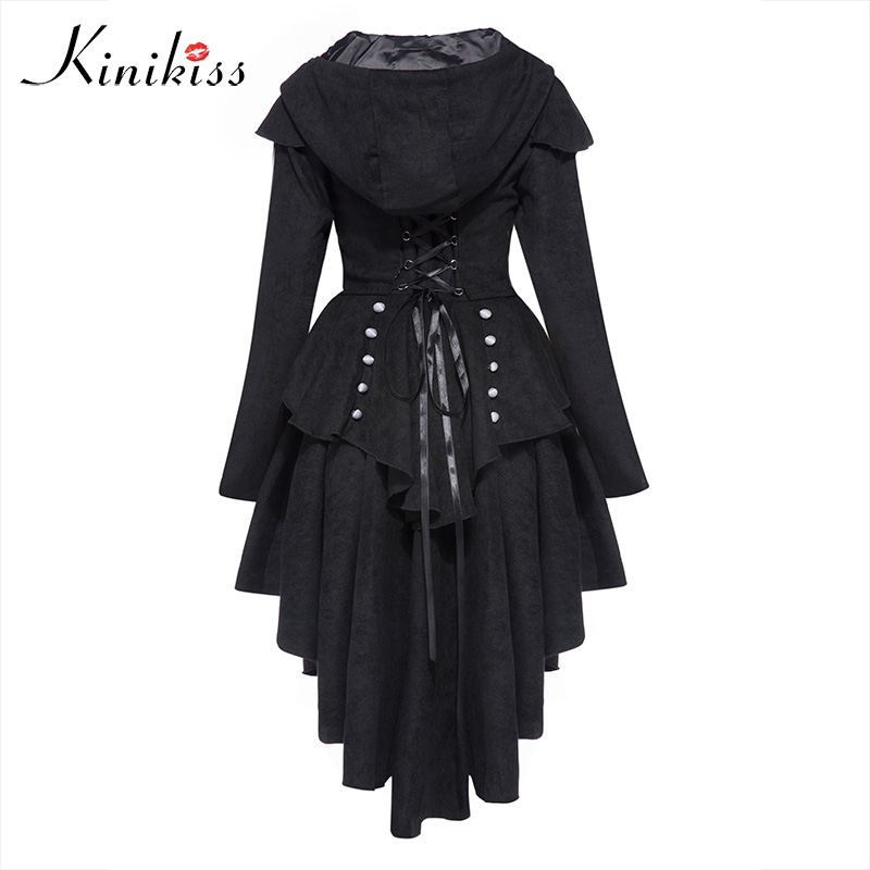 Kinikiss Women Trench Coat 2017 Black Gothic Outerwear Hooded Bow Button Lace Up Vintage Tailcoat Fashion Slim Overcoat button up tailcoat