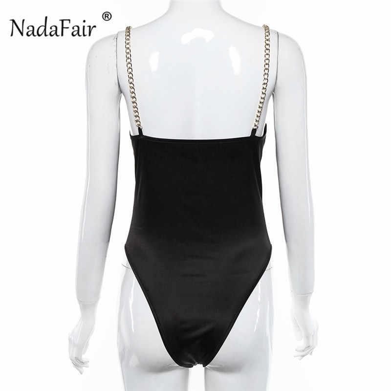 Nadafair V шеи черные боди для женщин цельный открытый комбинезон боди летняя цепь тела женские сексуальные Клубные Вечерние