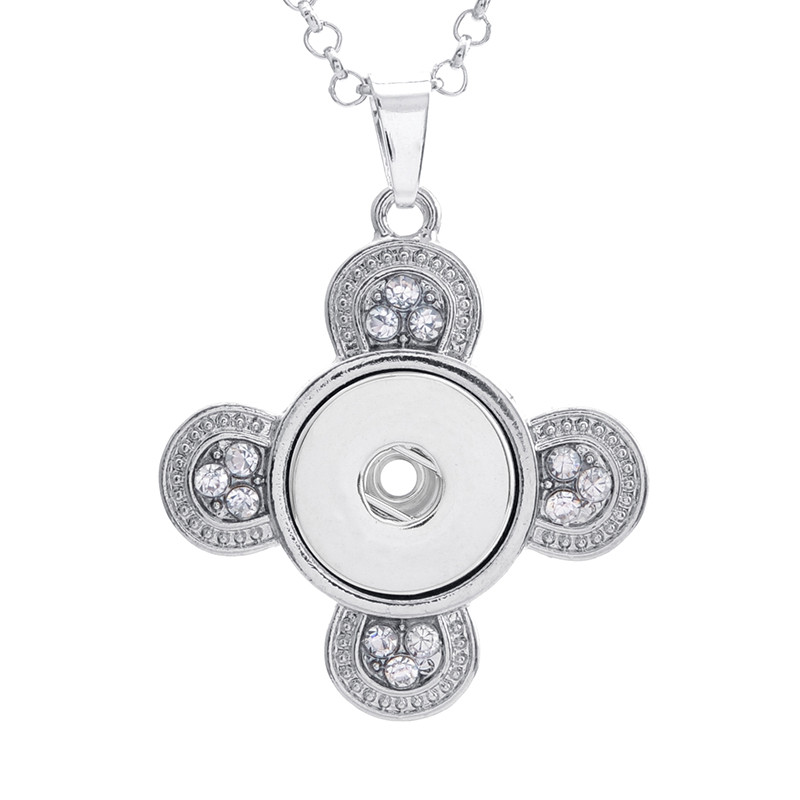With 50cm Chain Silver Crystal Cross Metal Snap Button Pendant Necklace fit 18/20MM Snap Button DIY Snaps Jewelry For Girls