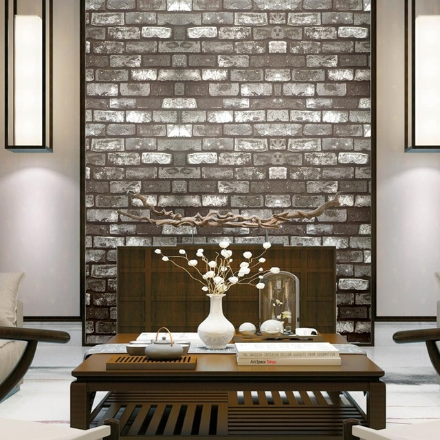 Beibehang Chinese Style Culture Brick Pattern Retro Vintage Wallpaper Noodle Hair Salon Hotel Barbecue Papel