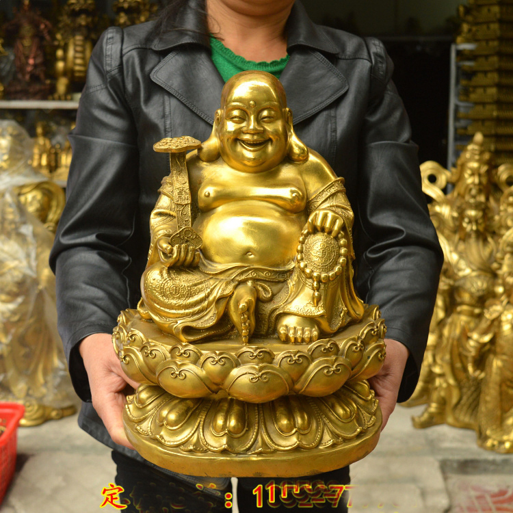 Large # HOME Shop company hall decoration thriving business Money Drawing Good luck Gold Maitreya Buddha brass FENG SHUI statue|Statues & Sculptures| |  - title=
