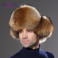 Winter real fox fur hat for men natural raccoon fur hat protect ear warm enough high quality hot sale