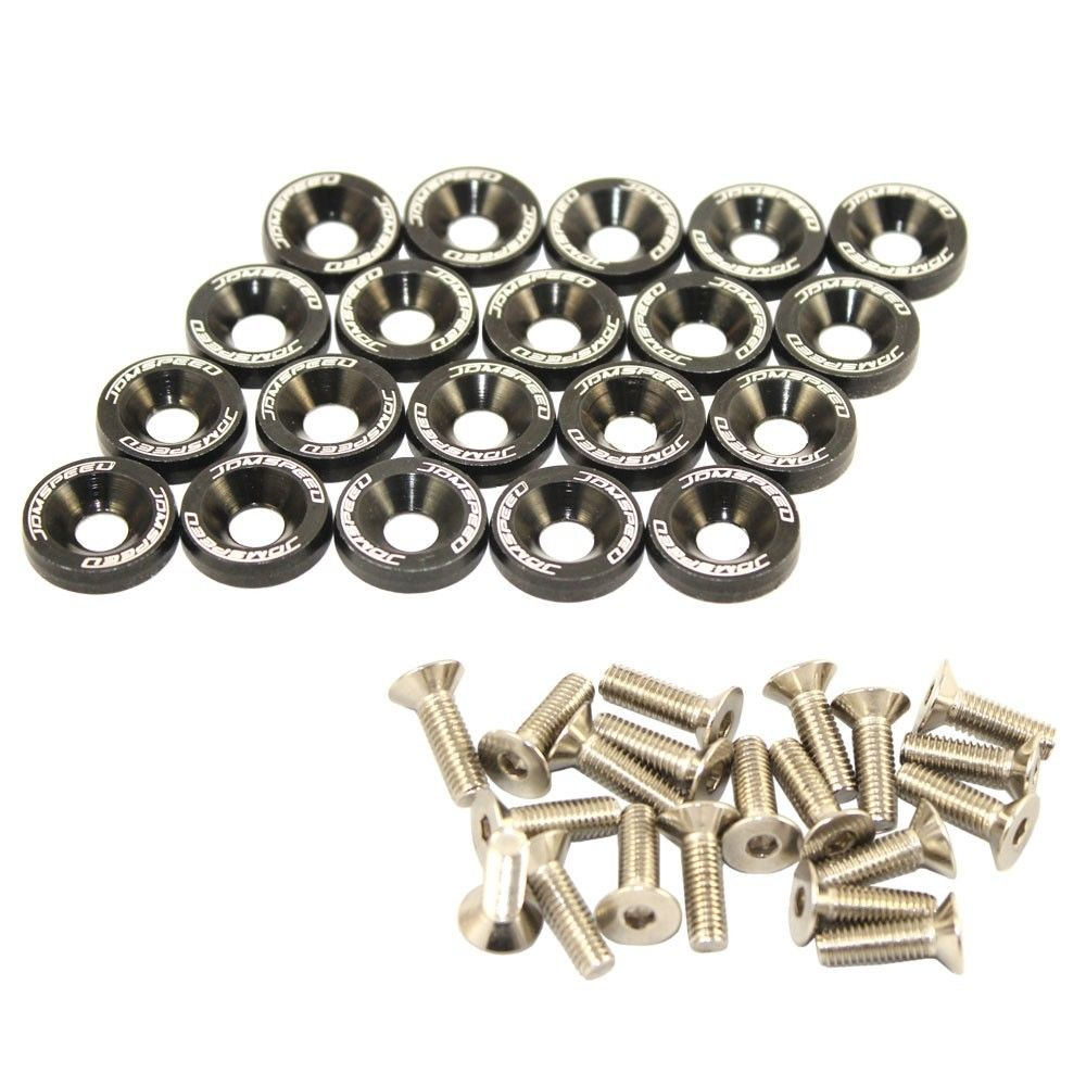 20pcs Black Billet Aluminum Fender Bumper Washer Engine Bay Dress Up Kit