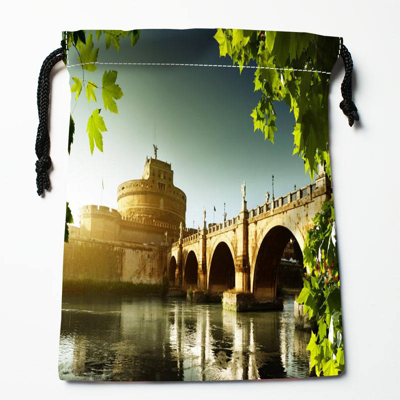 High Quality Custom Ancient Rome Printing Storage Bag Drawstring Bag Gift Satin Bags 27x35cm Compression Type Bags