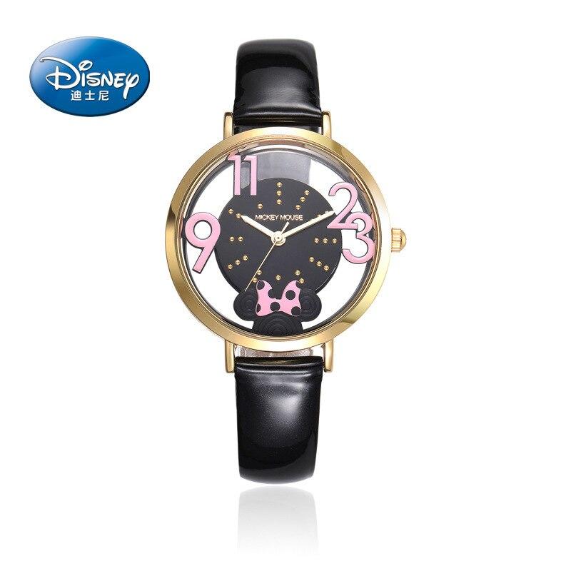 Disney Brand Genuine Leather Quartz For Women Watches Skeleton Hollow Transparent Black Pink White Red Band Waterproof Clocks