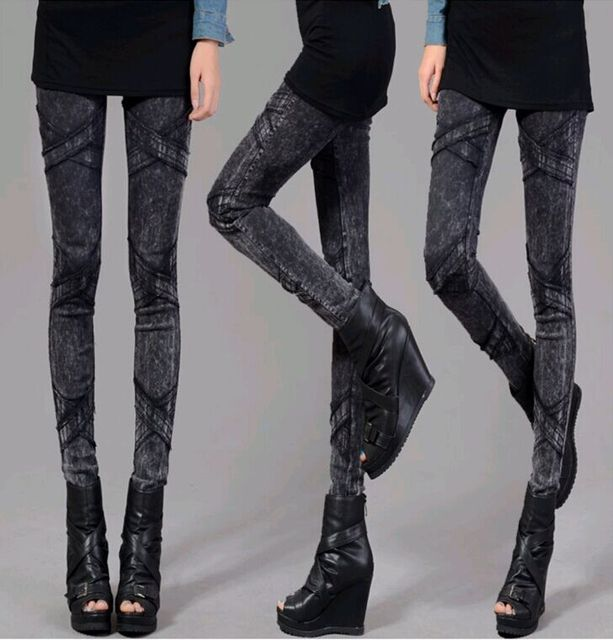 9131a1c689f Black Jegging Jeans for Women 2014 Ribbed Thighs Light Wash Design Two  Colours Three Size with High Elasticity