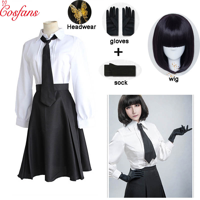 Anime Bungo Stray Dogs Detective Agency Member Akiko Yosano Cosplay Costumes Shirt Skirt Tie Gloves School Uniform Suit And Wig