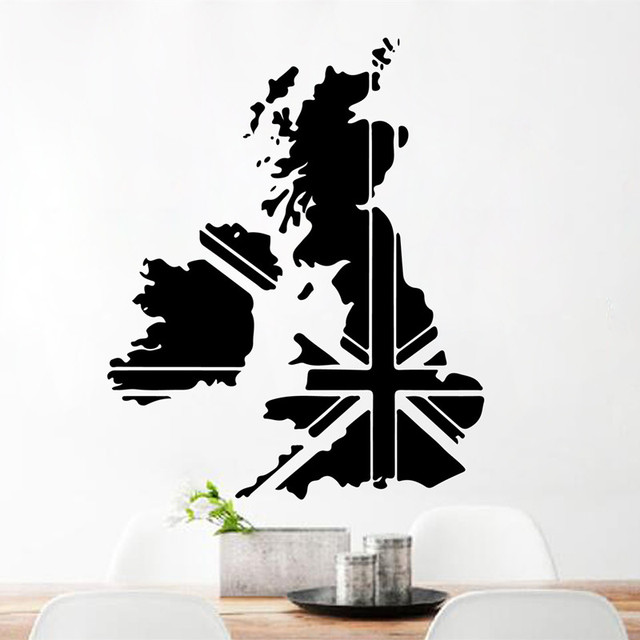 uk map england vinyl wall rustic home decor art decal bedroom living