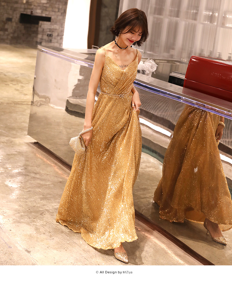 Shiny gold seqins Prom dress 2019 graduation A-line fashionable Evening dresses formal women elegant evening gowns