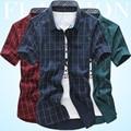 summer men business casual short sleeve shirt blouse young men office casual plaid short sleeve shirt blouse