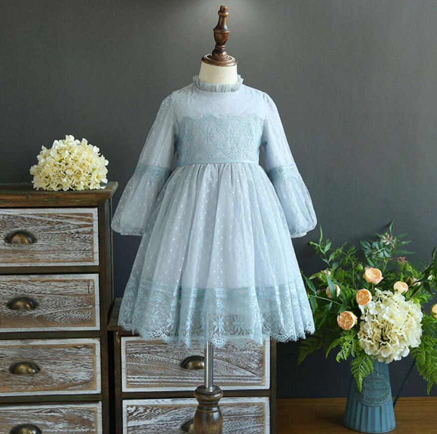 New Baby Girls Boutique Lace Long Sleeve Dresses, Princess Kids Fall Fairy Flower Dress, wholesale