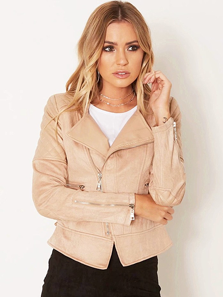 2018 Autumn New Women Coats Fashion Wild Slim Slimming Lapel Long Sleeve Stitching Zipper Jacket Women Short Paragraph in Jackets from Women 39 s Clothing