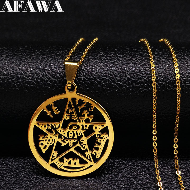 2018 Pentagram Stainless Steel Statement Necklace M
