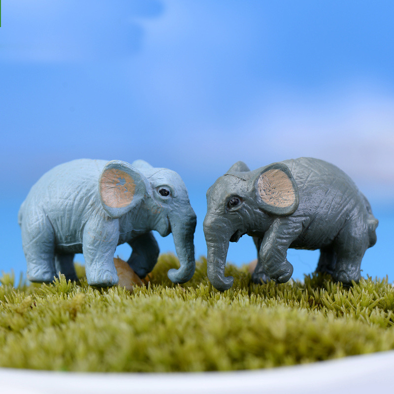 Mini Artificial Elephant Micro Fairy Garden Miniatures Gnomes Moss Terrariums Resin Crafts Figurines For Home Garden Decoration