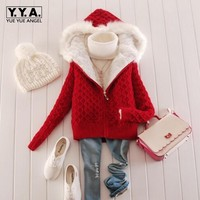 Warm Winter Womens Sweater Wool Hooded Sweaters Female Fur Lining Thicken Cardigan Thicken Casual Jacket Outwear Plus Size