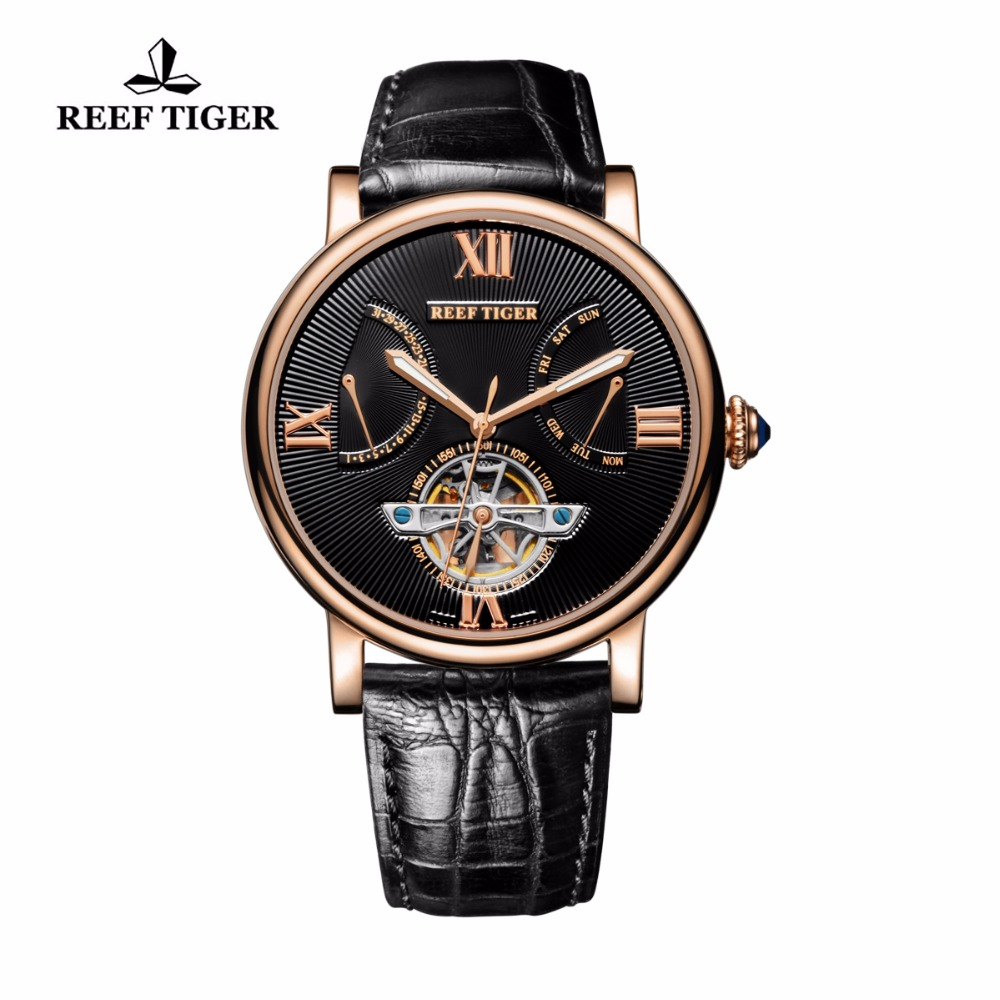 Reef Tiger/RT Casual Watches Rose Gold Fashion Designer Watch for Men Tourbillon Automatic Watches with Date Day RGA191 вьетнамки reef day prints palm real teal