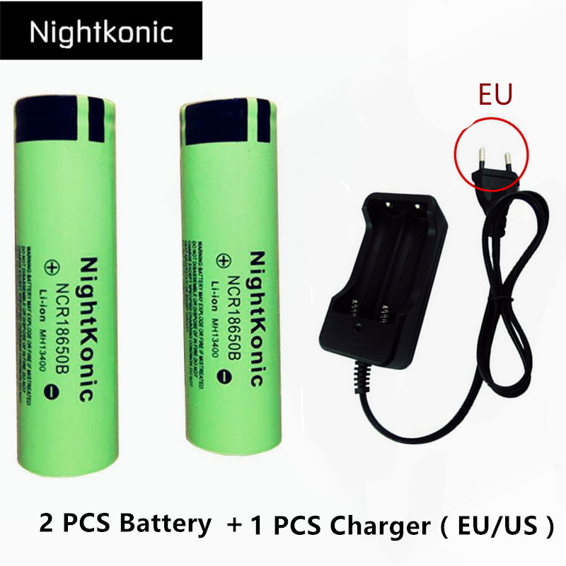Original Nightkonic 2 Pieces lot 18650 battery 3 7V Li ion Rechargeable Battery 18650B 1 PCS EU US 2 slot Charger in Replacement Batteries from Consumer Electronics