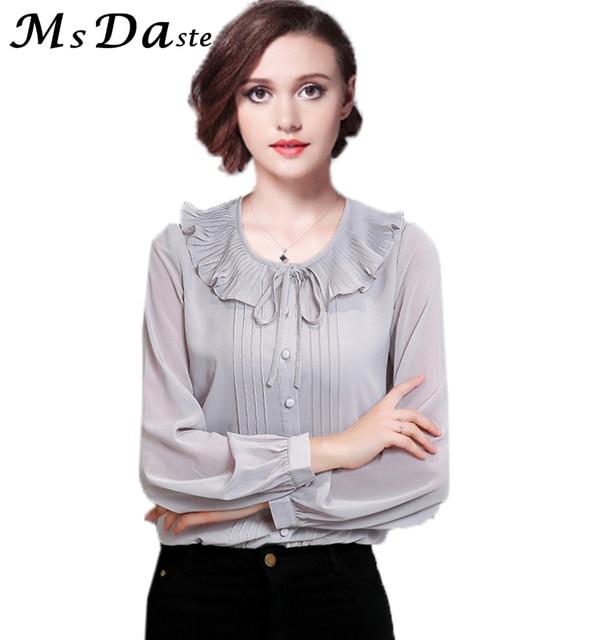 92d62a35c9849 Women Chiffon Blouses 2018 New Spring Ruffle Neck Formal Lady Vintage  Shirts Tops Blusas Feminina Pink Yellow Black Gray S~3XL