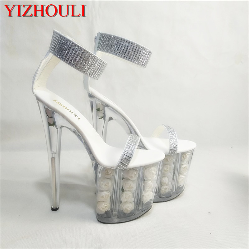 Hot-Selling 2018 Women's Shoes Cutout Crystal Shoes 20cm Ultra High Heels Sandals White Flowers Wedding Shoes 15cm ultra high heels sandals ruslana korshunova platform crystal shoes the bride wedding shoes