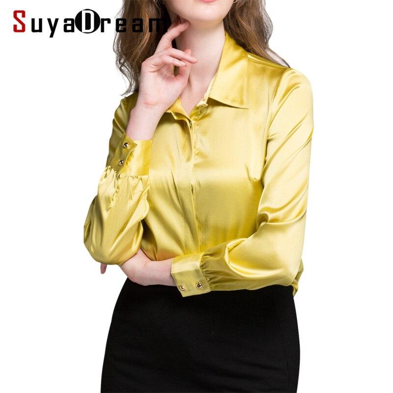 Women SILK SHIRT 94 Natural silk 6 Spandex Button Long sleeved OFFICE LADY Shirt 2018 Fall
