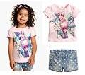 2015 New Fashion Summer Baby Girls Clothing Sets Floral Casual Short sleeve T-shirt+ short pants 2pcs Children Clothes Set