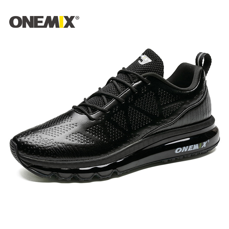 ONEMIX New Running Shoes Men leather upper Runner Athletic Sneakers Air Cushion Running Shoes For Men Outdoor Walking Shoes Men