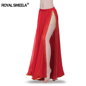 Image 3 - Hot Sale 2020 belly dancing training skirts belly dance costumes practice dress & performance sexy split belly dance skirt 6009