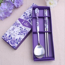 (100sets/Lot)FREE SHPPING+Wedding Favors Purple Colors Stainless-Steel Spoon and Chopsticks Set Kitchen Party Giveaway For Guest