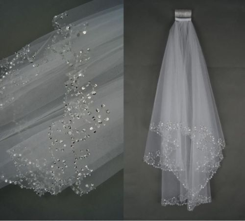 New 2 Tier White Ivory Elbow Sequins Beaded Edge Wedding Bridal Veil With Comb 2018