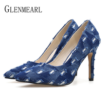 Women Shoes High Heels Woman Pumps Casual Shoes Denim Pointed Toe Female Party Shoes Brand Spring Autumn Laides Pumps Thin Heels