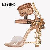 Jady Gül Tasarımcı Kadın Kristal Gladyatör Sandalet PVC Jöle Yüksek Topuklu Asma Dekor Ayak Bileği Kayış Sandalet Kadın Düğün Ayakkabı