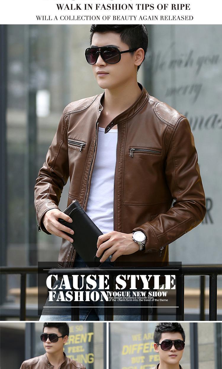 Men's leather Jacket design stand collar Coat Men casual motorcycle leather coat Mens Sheepskin jackets Windbreaker Coats