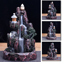 Resin Artificial Mountain Smoke Waterfall Backflow Incense Burner Censer Holder Aromatherapy Furnace Home Office Crafts