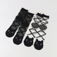 DONG AI 2 Pairs New Lovely Cats Head Summer Glass Sox Fashio