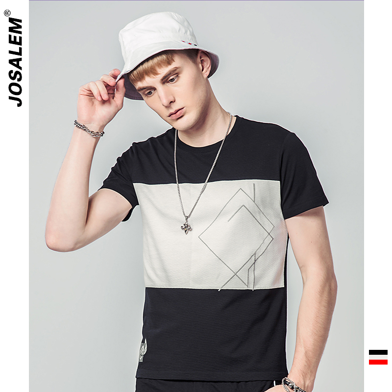 jOSALEm High quality Brand Men T shirt Casual Short Sleeve O-neck Leaves Print Cottont Men Black And White Striped Tee Shirt